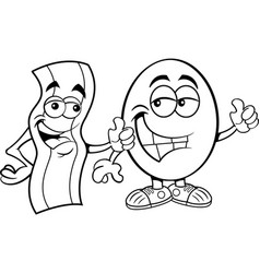 strip bacon and an egg both giving thumbs up vector image