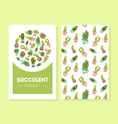 succulents card template cactuses in flower pots vector image