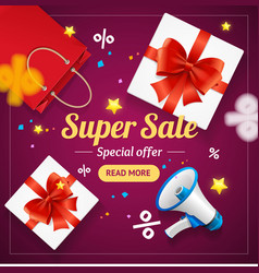 Super sale banner card or poster vector