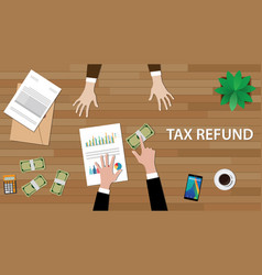 tax refund concept with two people vector image
