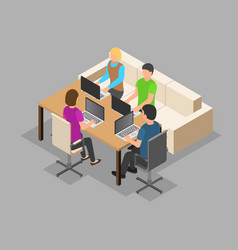 team it working background isometric style vector image
