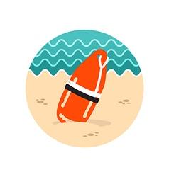 Torpedo rescue lifeguard buoy icon Summer vector image