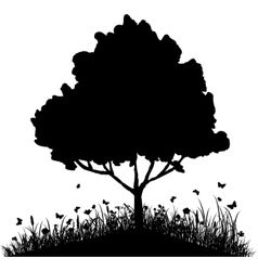 Tree on a hill with grass and butterflies vector image