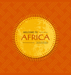 tribal african card with sun frame template for vector image