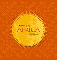 Tribal african card with sun frame template vector