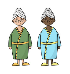 Two grandmothers black and white vector