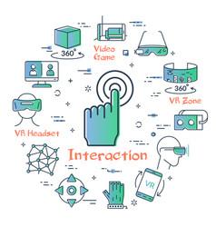 Virtual reality concept - interaction icon vector