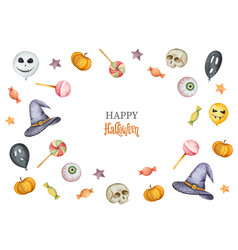 watercolor happy halloween card isolated vector image