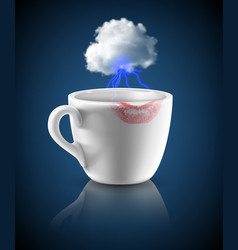 white cup with lipstick print vector image