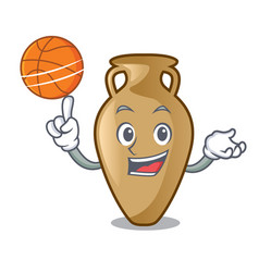 with basketball amphora character cartoon style vector image