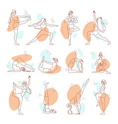 Woman yoga line art set vector