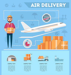 World air delivery service poster vector
