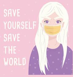 Young girl wearing a surgical mask corona virus vector