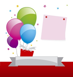 Balloon and note pad design vector image vector image
