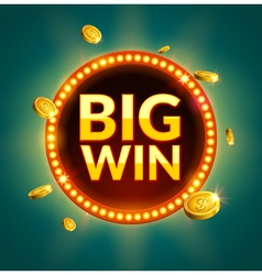 Big Win glowing retro banner for online casino vector image vector image