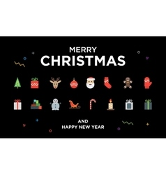 Christmas greeting card with lettering icons and vector