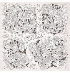 cinema movie film doodles sketchy designs vector image