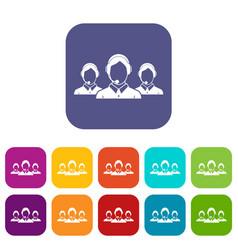 Customer support operators icons set vector