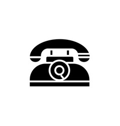 phone retro icon black sign vector image