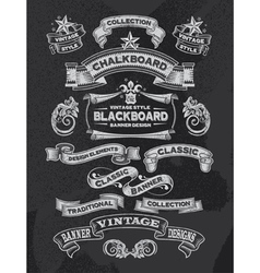 Retro Chalkboard banners and ribbon design vector image vector image