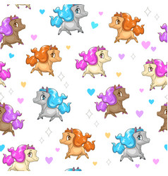 seamless pattern with cute cartoon horses vector image vector image