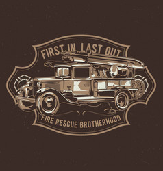 t-shirt label design with fire truck vector image vector image