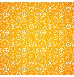 Vintage buttons sew seamless pattern in orange vector image vector image