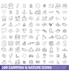 100 camping and nature icons set outline style vector image vector image