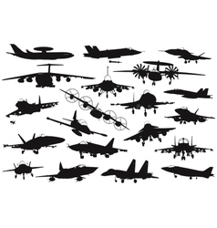 Military aircrafts set vector image vector image