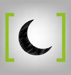 moon sign black scribble vector image