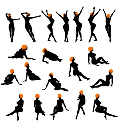 naked girls silhouette set vector image vector image