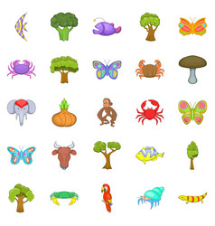 african animals icons set cartoon style vector image