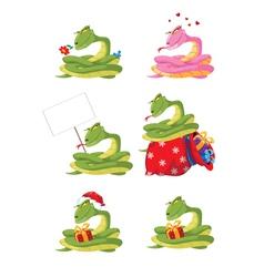 funny girl snake set vector image vector image