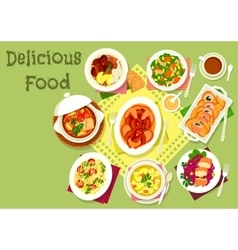 Meat and fish dishes with pasta and veggies icon vector image vector image