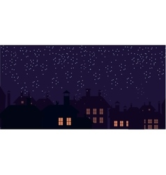 Silhouette of the city and night sky falling snow vector