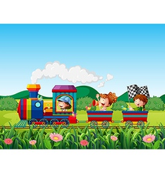 Train ride vector image