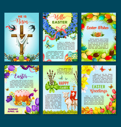 easter poster template of egg flower cake cross vector image