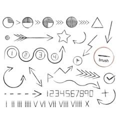 Hand drawn sketch arrows vector