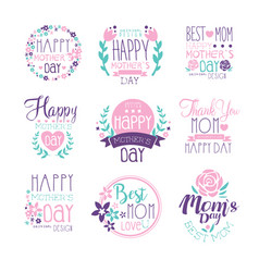happy mothers day hand drawn label vector image vector image