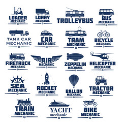 icons set for transport mechanics vector image vector image