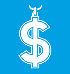 necklace of dollar symbol icon white vector image