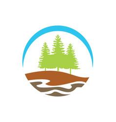 pine tree mountain hill logo vector image vector image