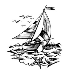 sailing boat sketch isolated vector image vector image