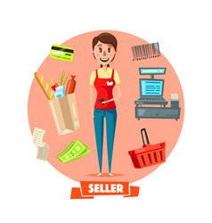 seller woman or cashier in shop retail vector image vector image