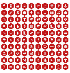 100 farming icons hexagon red vector