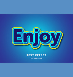 3d blue with yellow outline text effect editable vector image