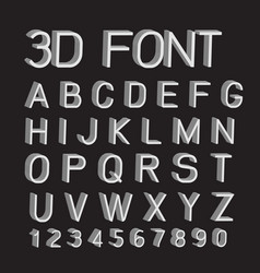 3d font letters and numbers vector image