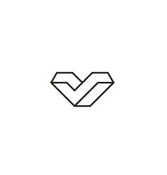 3d line letter v logo design concept vector