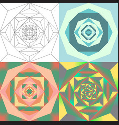 abstract geometric flower set vector image