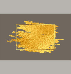 Abstract golden brush stroke with foil texture vector